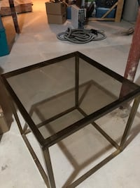 Metal & Glass End Table Perfect for Living Room or Family Room Metal is a darker bronze colour finish Newmarket, L3X 2H2