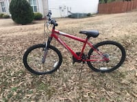 Red and black hard tail mountain bike