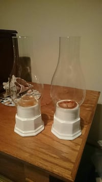two white ceramic candle holders Woodbridge, 22192