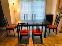 Rectangular brown wooden table with four chairs dining set Fredericksburg, 22407