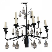 Holm Sorenson Iron & Glass Drop Chandelier San Rafael