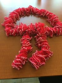 red and white knitted wreath Dix Hills