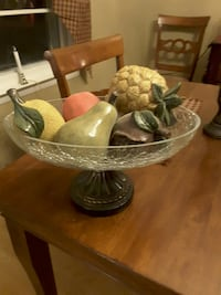 Decorative glass bowl with wood fruit