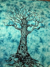 Handmade Indian Sky Blue Tie Dye Print Tree of Life Tapestry Hippie Wall Hanging Cotton Twin Bedspread Throw Table Cloth Decor Wall Art Riverside, 92506