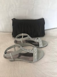 pair of gray leather open-toe wedge sandals El Paso, 79927