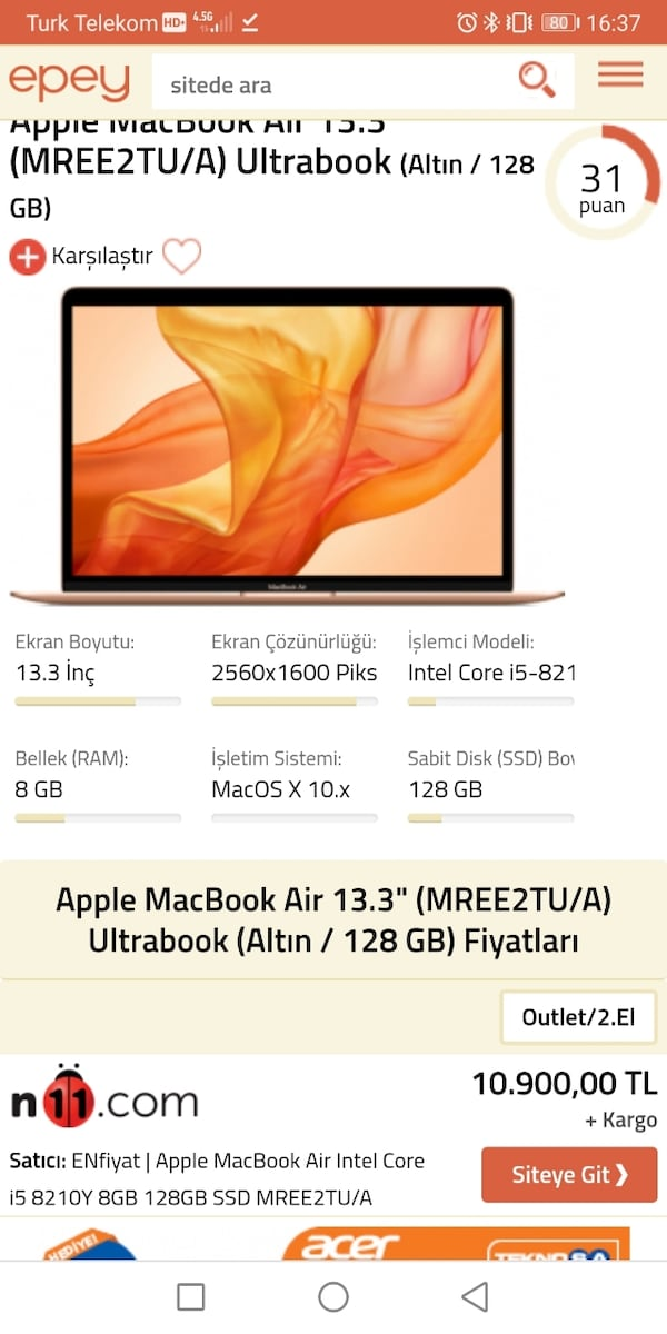 Apple Macbook Air i5 işlemci 8gb Ram  e55cda38-b798-4521-a486-93f793412f19