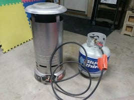 Coleman heater and propane tank