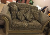 gray floral fabric loveseat