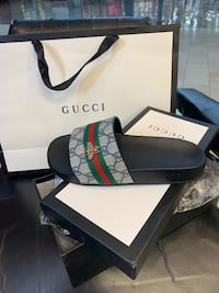 black and green Gucci leather belt with box Augusta, 30909