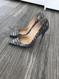 CHRISTIAN LOUBOUTIN Glitter Sirene Pigalle Follies 100 Pumps 38 Silver Los Angeles, 90015