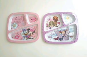 NEVER USED Disney sectioned toddler plates