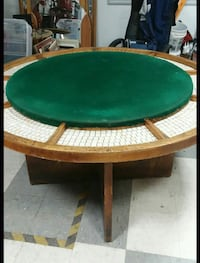 Vintage Poker Table With Mosaic Style Tile Inlay