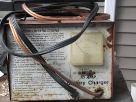 Brown and white battery charger