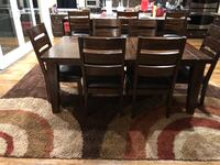 Rectangular brown wooden table with six chairs dining set 2288 mi