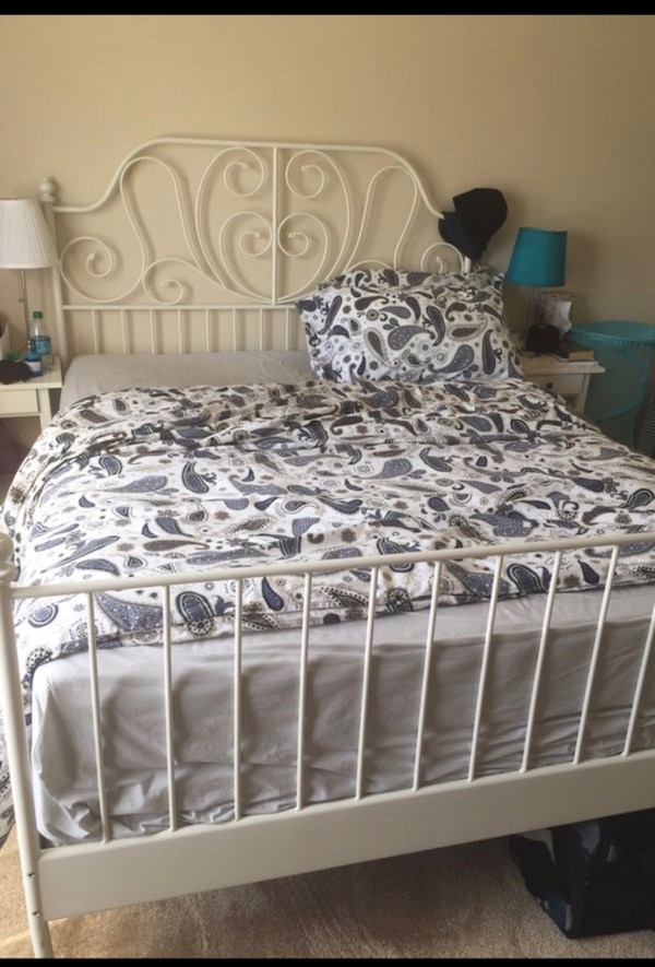 Used Ikea Leirvik Bed Frame White Full Size Iron Metal Country Style With Mattress And Foundation Dresser For In Toledo Letgo