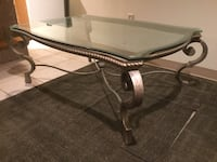 brown wooden framed glass top coffee table New Castle, 19720