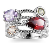 NEW 925 STERLING SILVER RING WITH AMETHYST, TOPAZ, GREEN TOURMALINE AND RUBY STONES SZ 9 Coleman, 76834