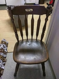 brown wooden windsor chair with black leather pad Pearl City, 96782
