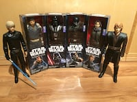 six Star Wars action figures with four boxes