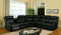 C shaped black bonded leather recliner sectional  Hyattsville, 20781
