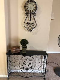 Iron side table with matching clock