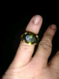 Women's Green Big Stone Costume Ring Omaha