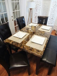 New Brown Dining table set 4 chairs bench
