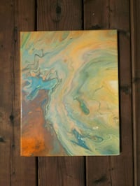 Orange and Yellow Acrylic Pour Painting  Brampton, L6S 4H2