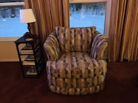 Brown, gold tan and rust fabric sofa chairs, set of 2 Carpentersville
