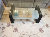 brown wooden frame glass top table Vancouver, V5X 3R4