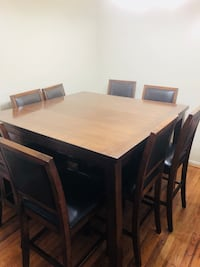 rectangular brown wooden table with eight chairs dining set Downey, 90241