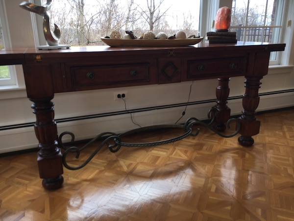 Baroque Spanish Rich Wood Wrought Iron Convertible Console Buffet And Dining Room Table Usado En Venta Franklin Lakes