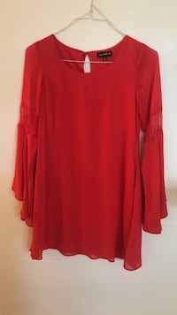 red scoop neck long sleeve dress Fairfax, 22033