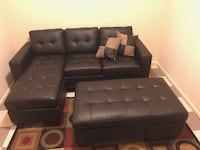 Brand new expresso bonded leather sectional sofa with ottoman (final price)  Silver Spring, 20901