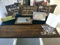 black and brown wooden table and custom wood/tin s