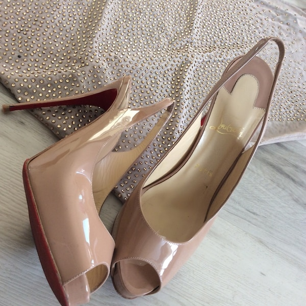 13832d13725f Used 100mm peep toe Christian Louboutin patent nude heels for sale ...