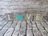 Love Scrabble Letter Wall or Shelf Home Decor Gray and Teal new Mission