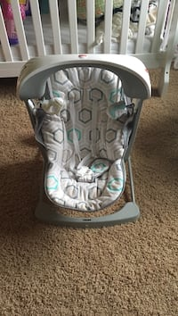 baby's white, teal, and gray Fisher-Price bouncer Rogers, 55374