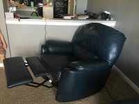 Blue leather sofa and recliner and wing back chair