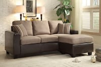 Tan & Chocolate fabric sectional sofa with throw pillows Houston