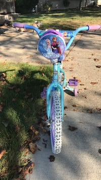 Children's blue and purple Disney Frozen bicycle with training wheels