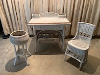 1940s wicker writing table, chair and flower pot Marriottsville, 21104