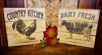 FIRM PRICE * Farmhouse Planked Reclaimed Wood Rooster & Cow Wall Decor Oklahoma City, 73012