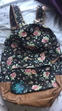 black, pink, and green floral backpack Hampstead, 28443
