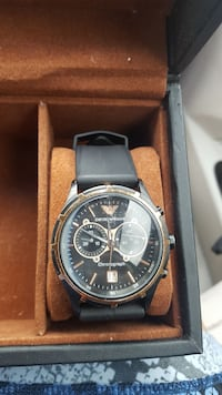 ARMANI chronograph watch with black leather