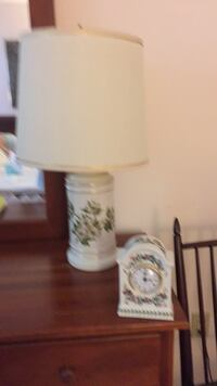 white and blue floral ceramic table lamp Tarrytown, 10591