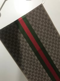 Brown, green and red gucci textile scarf