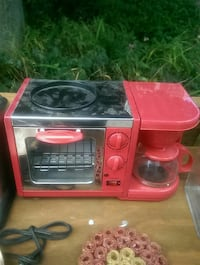 red and stainless steel toaster oven with coffeemaker