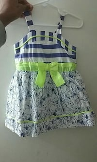 white and blue floral sleeveless dress 1028 mi