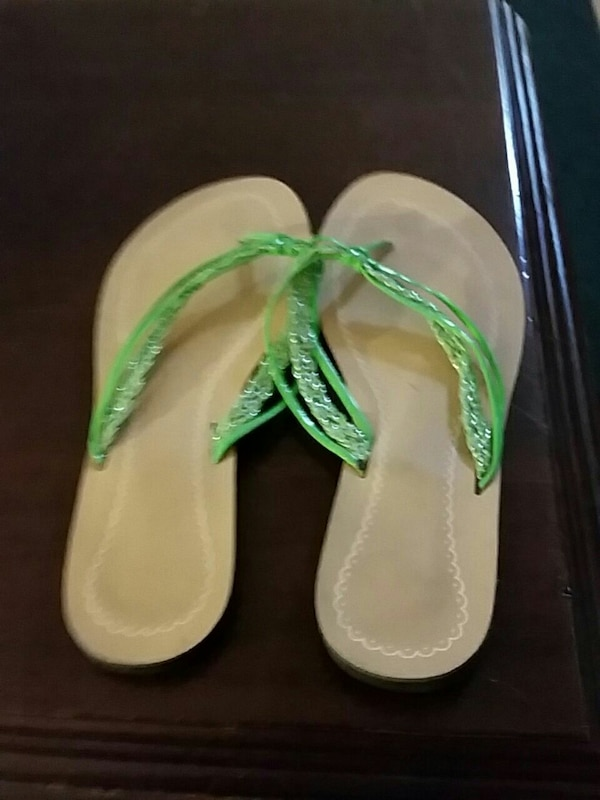 pair of green sandals